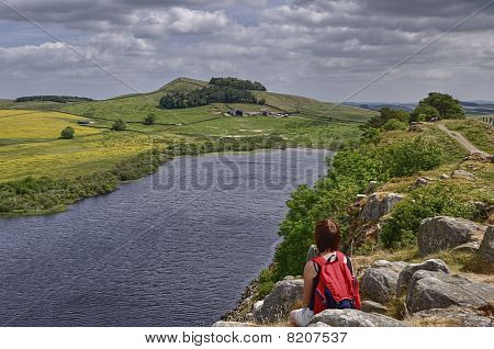 Female Hiker On Hadrian's Wall