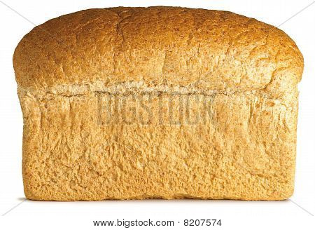 Traditional Loaf Of Granary Brown Bread On A White Background