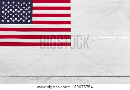 American Flag On White Wood