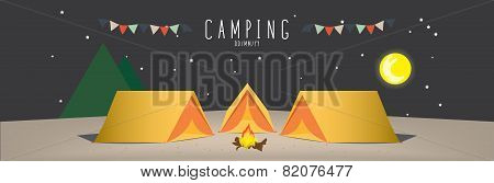 illustration vector of a campsite. (Night)