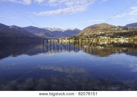 Orta Lake, winter panorama. Color image