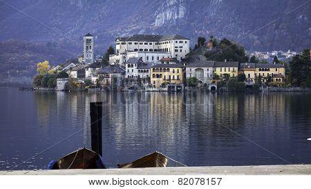 Orta San Giulio and Orta Lake, late fall. Color image