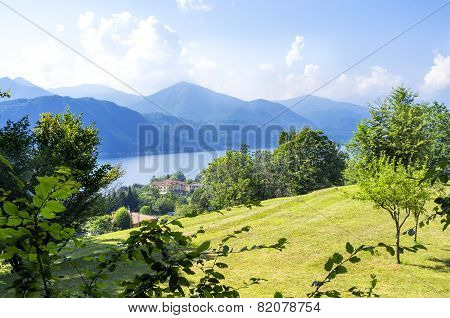 Lake Orta, panorama from Sacro Monte. Color image