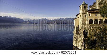 Eremo Di Santa Caterina Del Sasso Panorama. Color Image