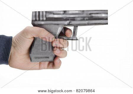 Pixelated game gun