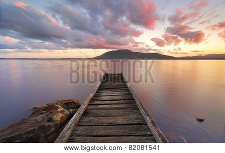 Queens Lake Reserve Jetty At Sunset