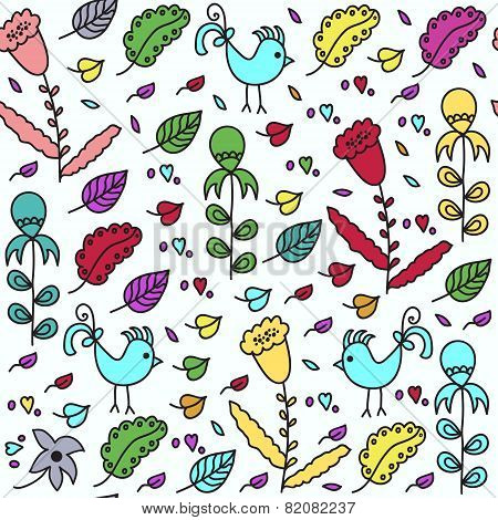 Kids Seamless Pattern With Birds And Seamless Pattern In Swatch Menu, Vector