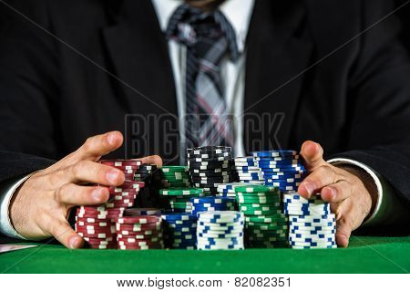 Man Betting On The Casino