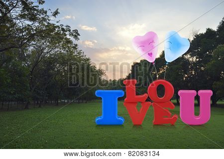 Alphabet I Love You Toy With Happy Love Heart Balloon In Park