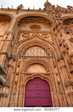 Stone Red Front Door Facade New Salamanca Cathedral Spain