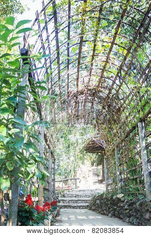 Simple Outdoor Bamboo Arch Into The Garden