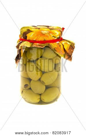 Homemade Glass Jar  Preserved Olives  Isolated On A White
