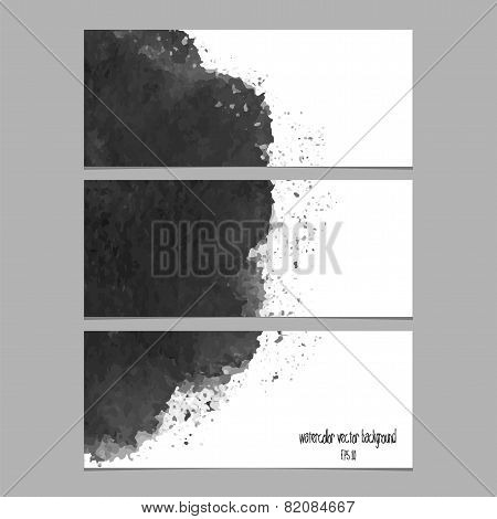 Vector Banners With Watercolor Black