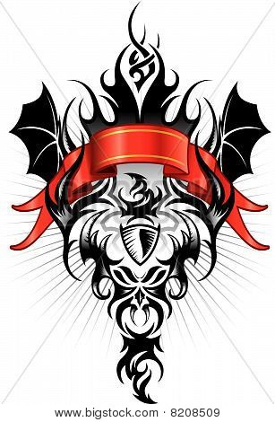 Stock vector : Devil tribal tattoo figure black and red