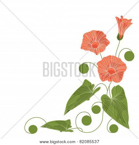 Beautiful Corner Floral Arrangement. Vector Illustration