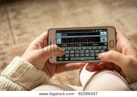 Love Text On Smartphone, Top View