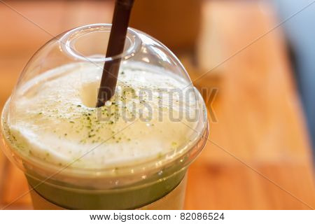 Iced Green Tea Latte With Milk Foam