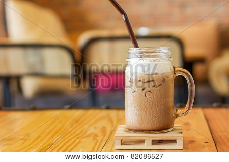 Iced Caffe Mocha With Milk Foam