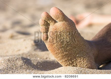 Foot With Sand - Beach