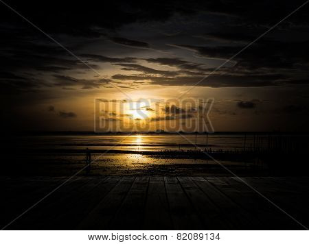 Scenery Of The Wooden Pier In The Morning