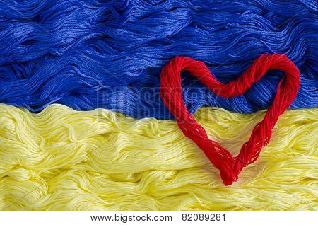 Texture Thread With The Image Of The Flag Of Ukraine And Heart