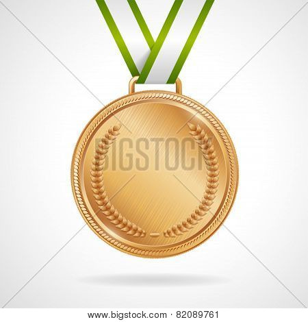 Vector copper medal with ribbon