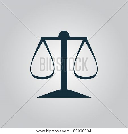 Scales balance icon, sign and button
