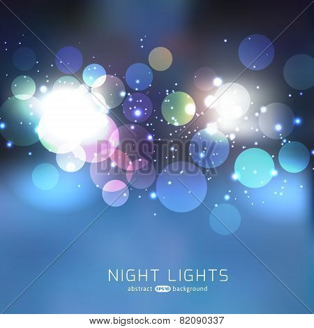 Blue night abstract bokeh background