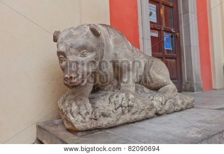 Bear Sculpture (xviii C.) Near The Jesuit Church. Warsaw, Poland