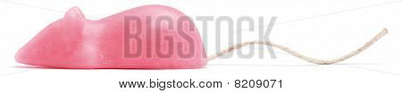 Side View Of A Pink Suger Candy Mouse On A White Background