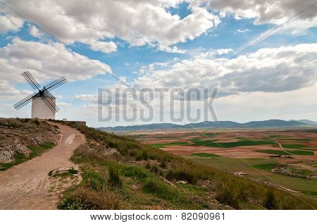 View of windmill in Consuegra, Spain