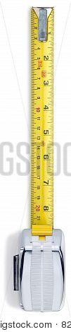 Silver Retractable Measuring Tape From Overhead On A White Background