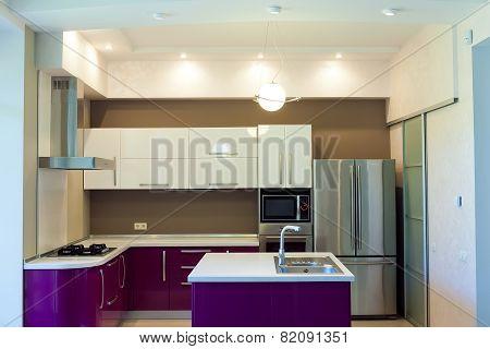 Interior shot of big modern kitchen