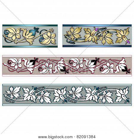 Four Decorative Herbal Border