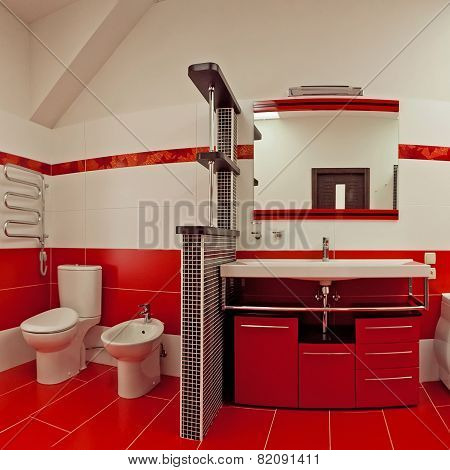 Modern bathroom with red ceramic walls