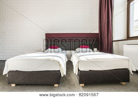 Two Single Beds In Modern Apartment