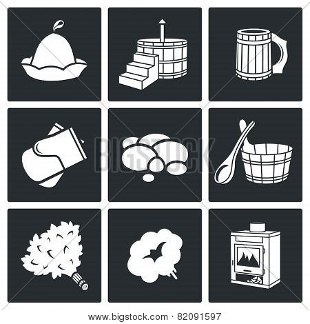 Bath And Sauna Accessories Icons Set
