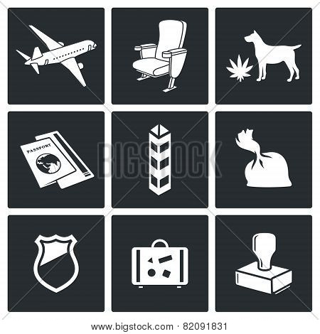 Airplane Drug Trafficking Icon Set