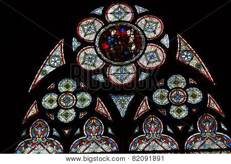 Stained glass windows inside the treasury of Notre Dame Cathedral UNESCO World Heritage Site. Paris