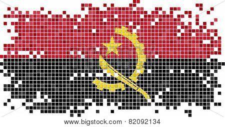 Angolan grunge tile flag. Vector illustration