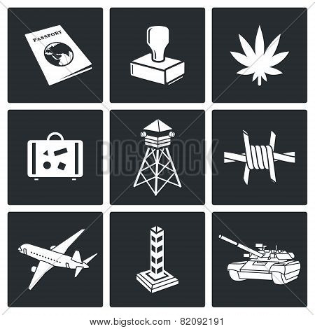 Illegal Migration And Transportation Of Narcotics Icon Set