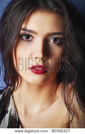 Closeup Portrait Of Beautiful Young Woman