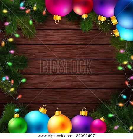 Bright and colorful winter holidays background. Wooden backdrop