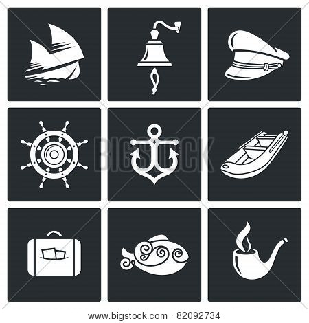 Sea Voyage, The Captain Vector Icons Set