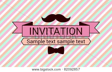 Invitation with mustache and bow tie