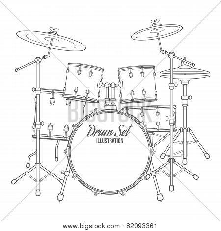 dark contour vector drum set technical illustration
