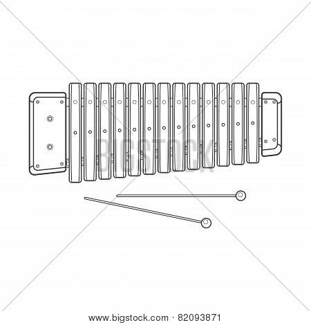 dark contour vector wood xylophone illustration