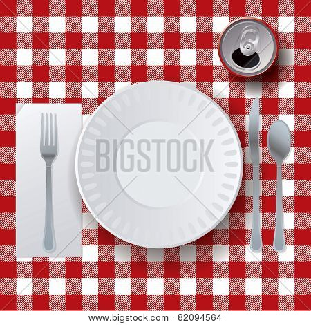 Picnic Casual Dining Placesetting Illustration