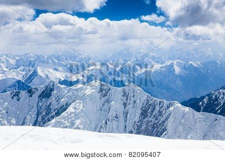 Mountain view from the top of Lenin Peak in Pamir region Kyrgyzstan