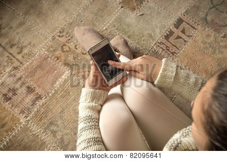 Top View Of Woman With Smart Phone